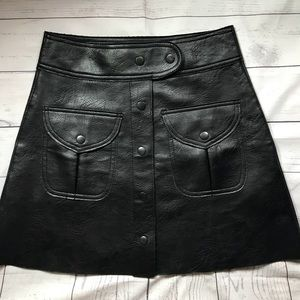 Zara Faux leather button down skirt SZ XS